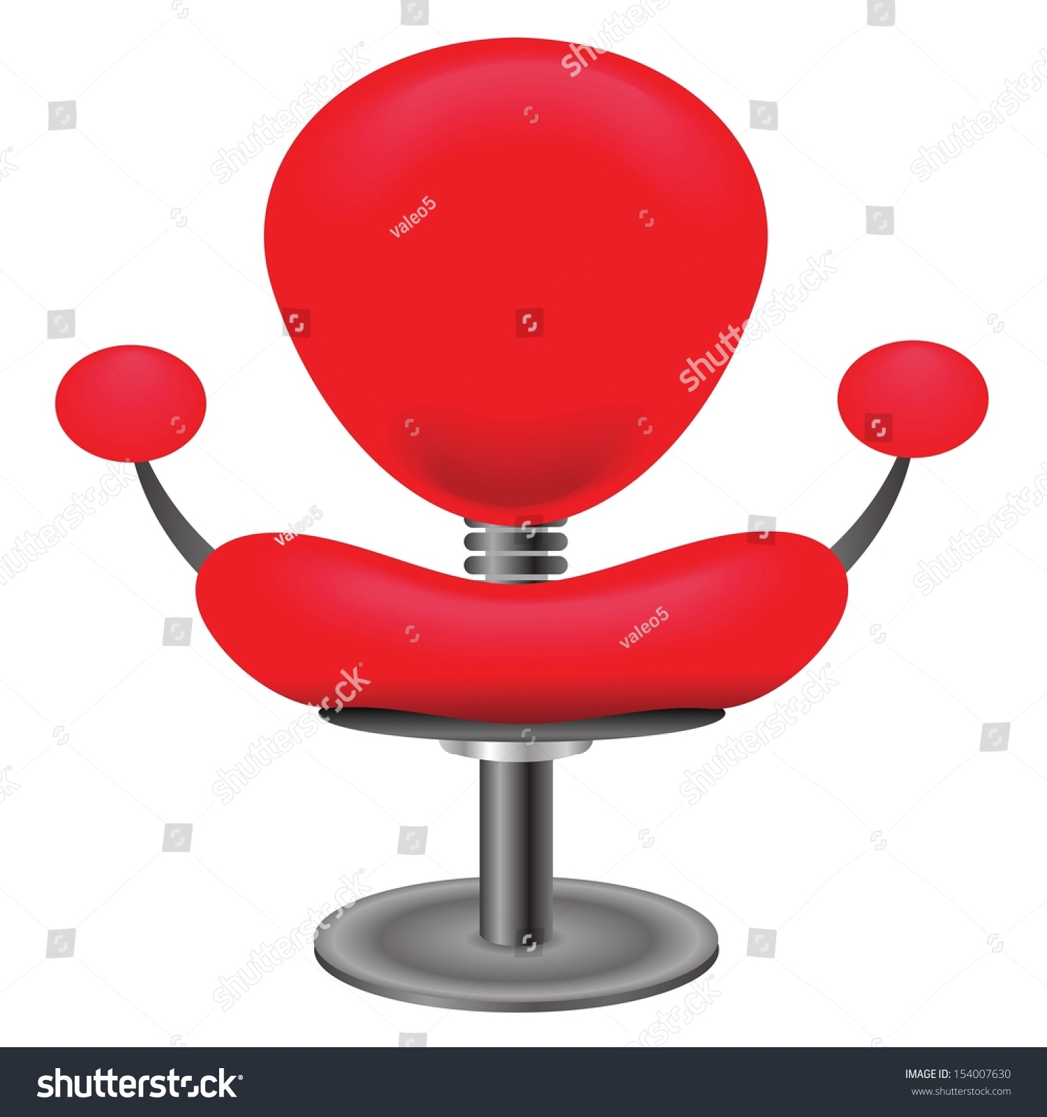 Colorful Illustration Red Chair White Stock Vector