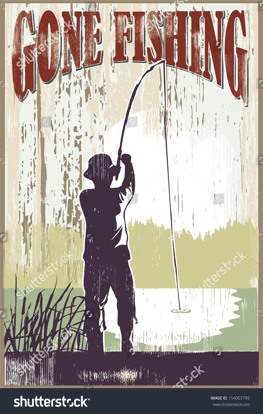 Vintage Gone Fishing Sign Man Fishing Stock Vector ...