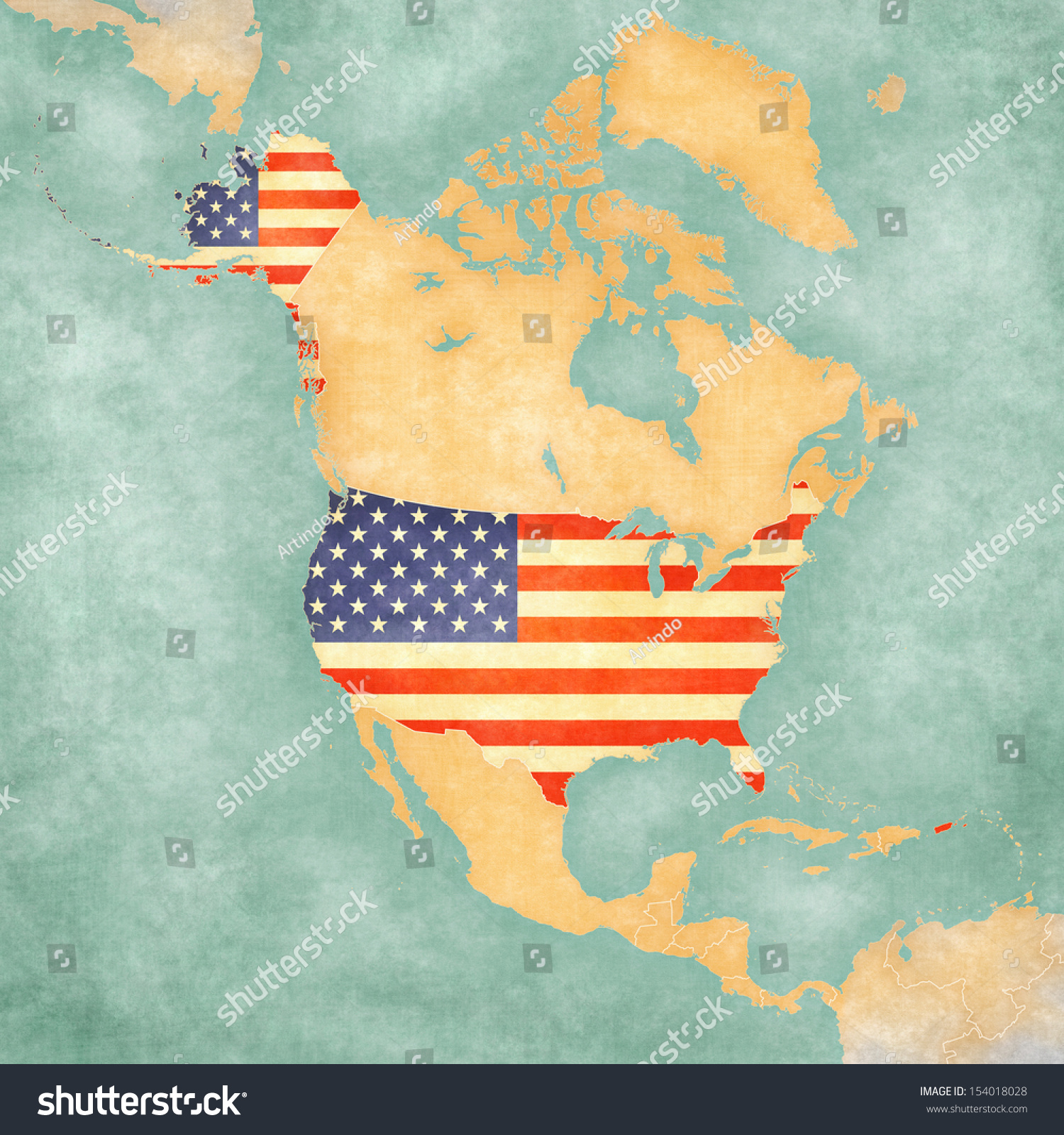 Usa American Flag On Outline Map Stock