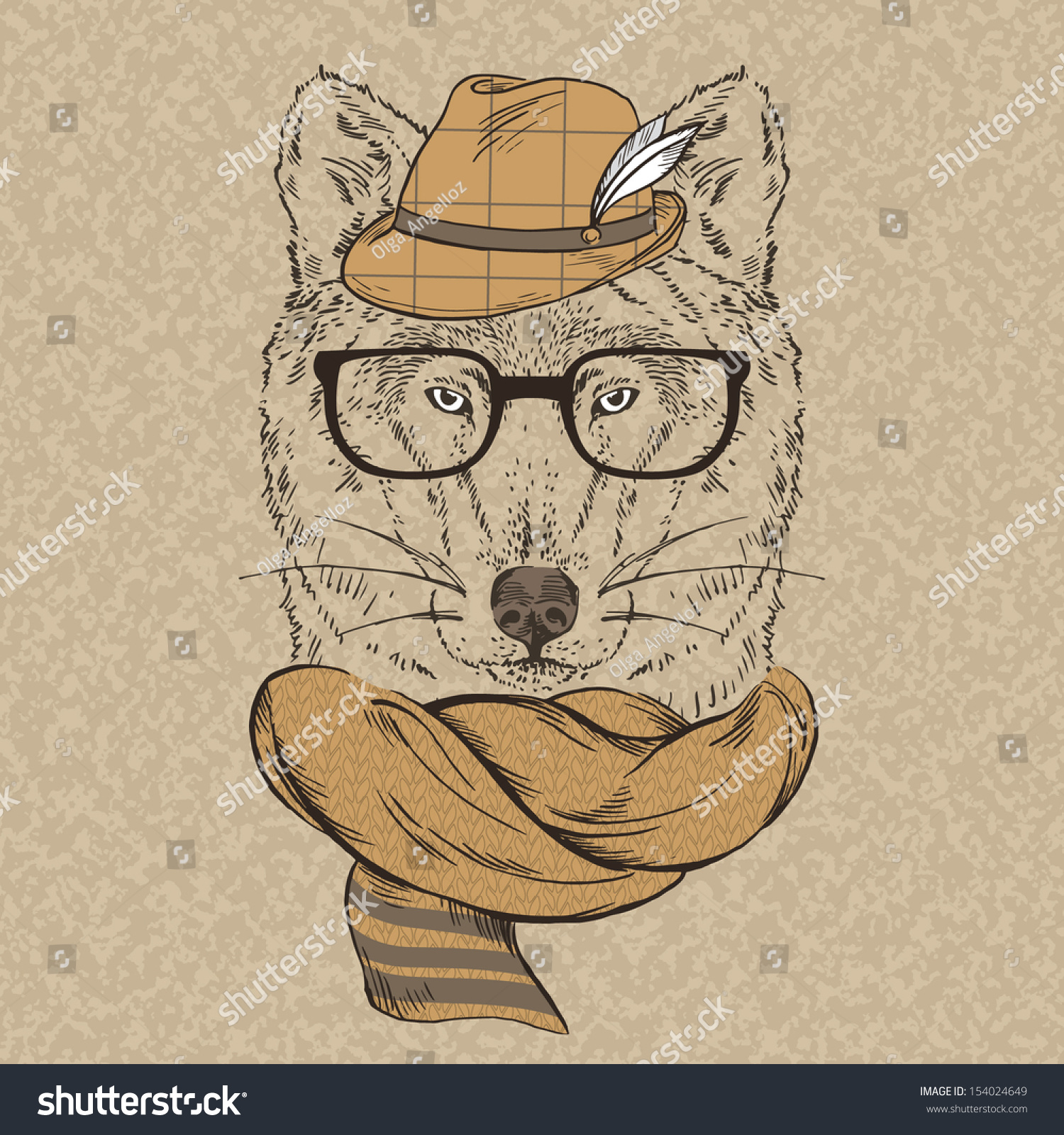 Portrait Wolf Hipster Hat Knitted Scarf Stock Vector ...