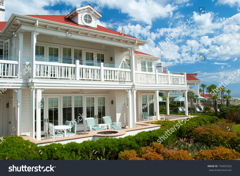 Luxury American Dream Beach Summer House Stock Photo