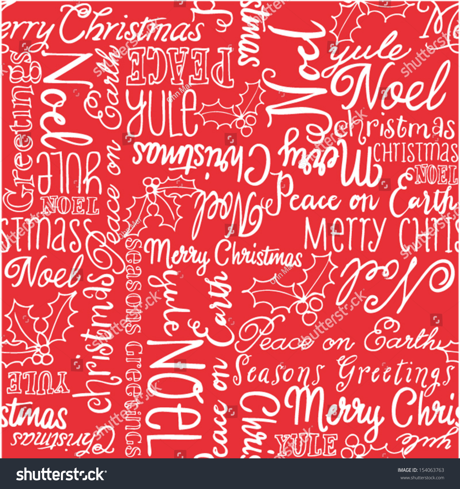 christmas words and holly seamless vector background