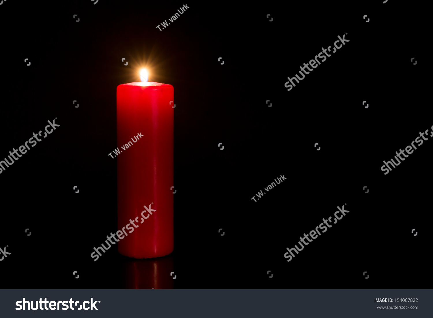 Red Candle With Black Background Stock Photo 154067822 ...