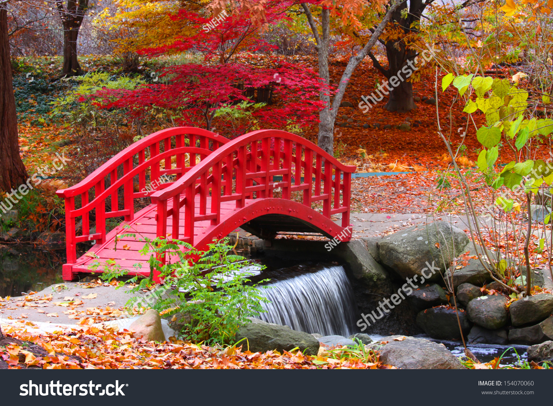 Beautiful Japanese Garden In Michigan In Autumn Time Stock