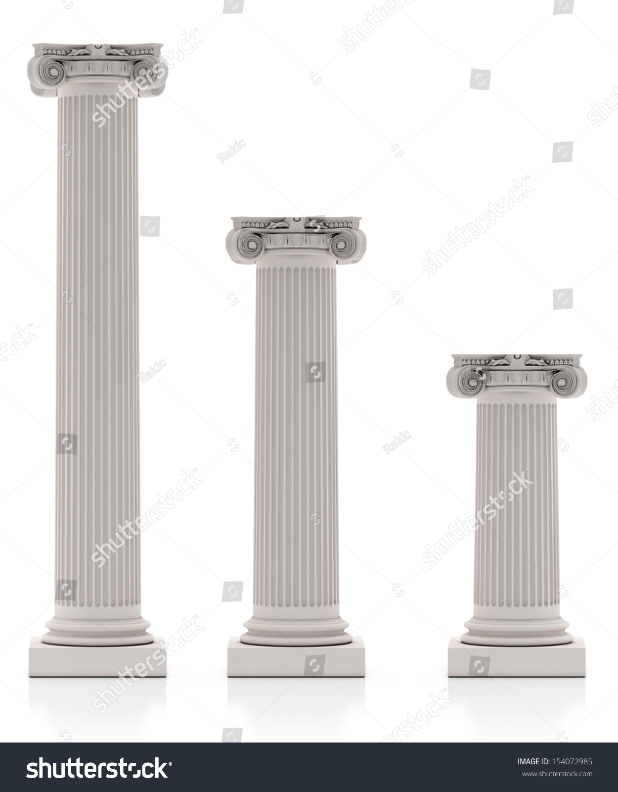 Greek Pillars Three Size Isolated On Stock Illustration ...