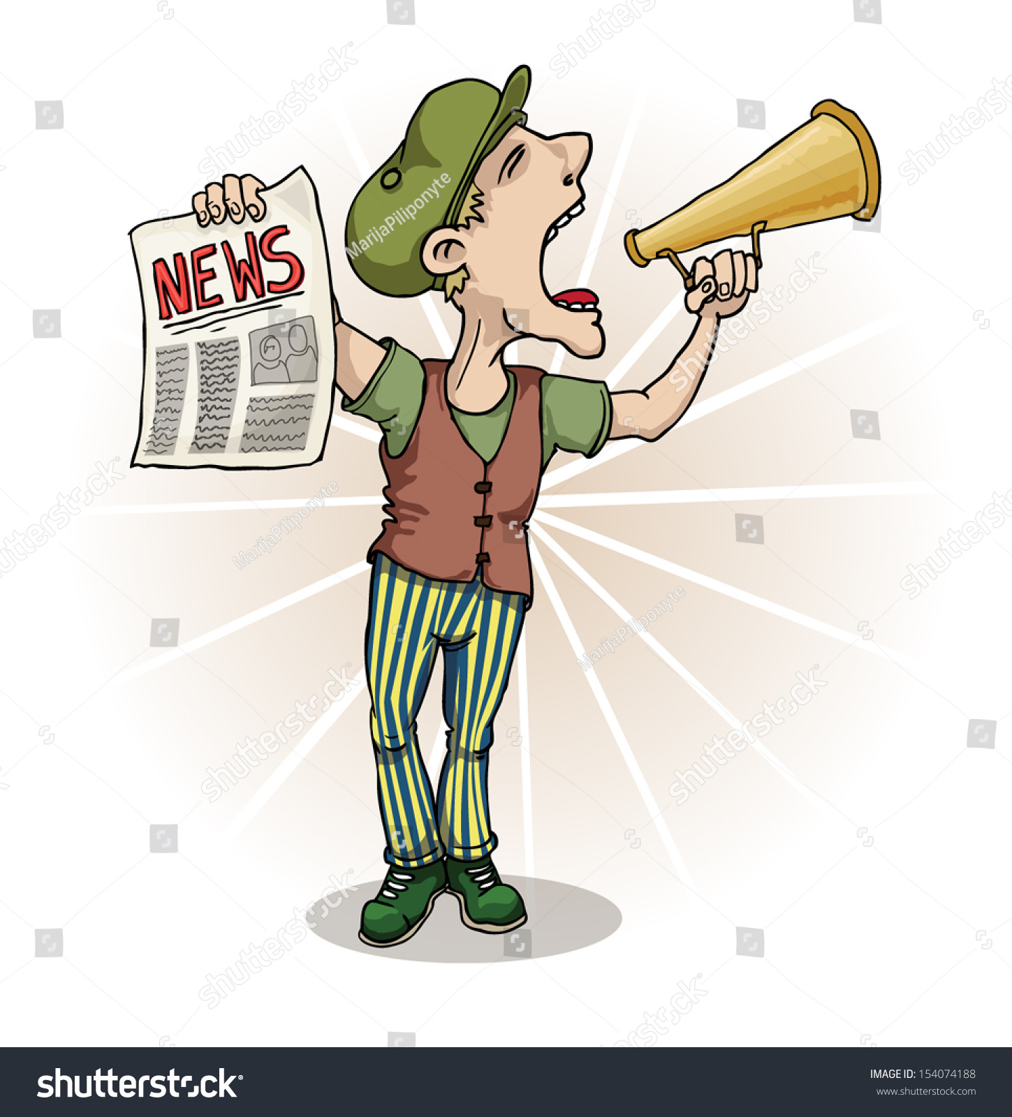 paperboy selling news papers shouting vector stock vector