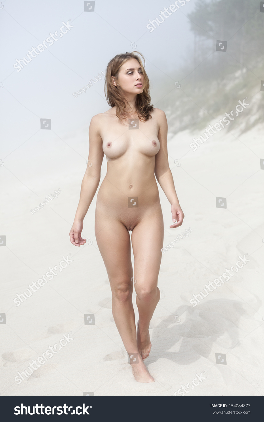 Big naked woman walking