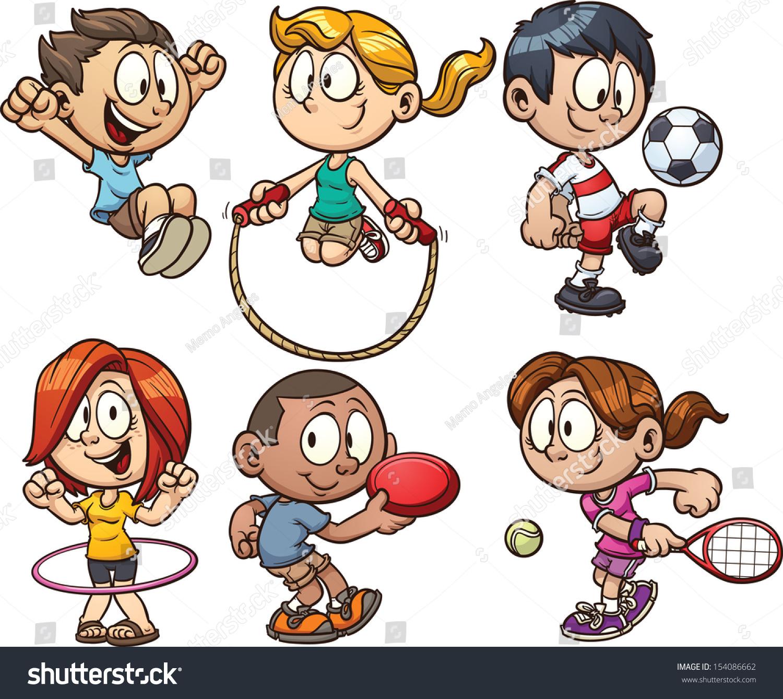 Cartoon Kids Playing Vector Clip Art Stock Vector ...