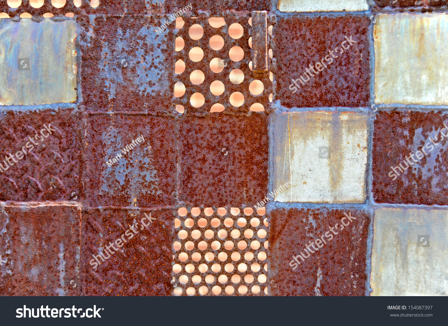 Abstract Background of Rusted Metal Squares