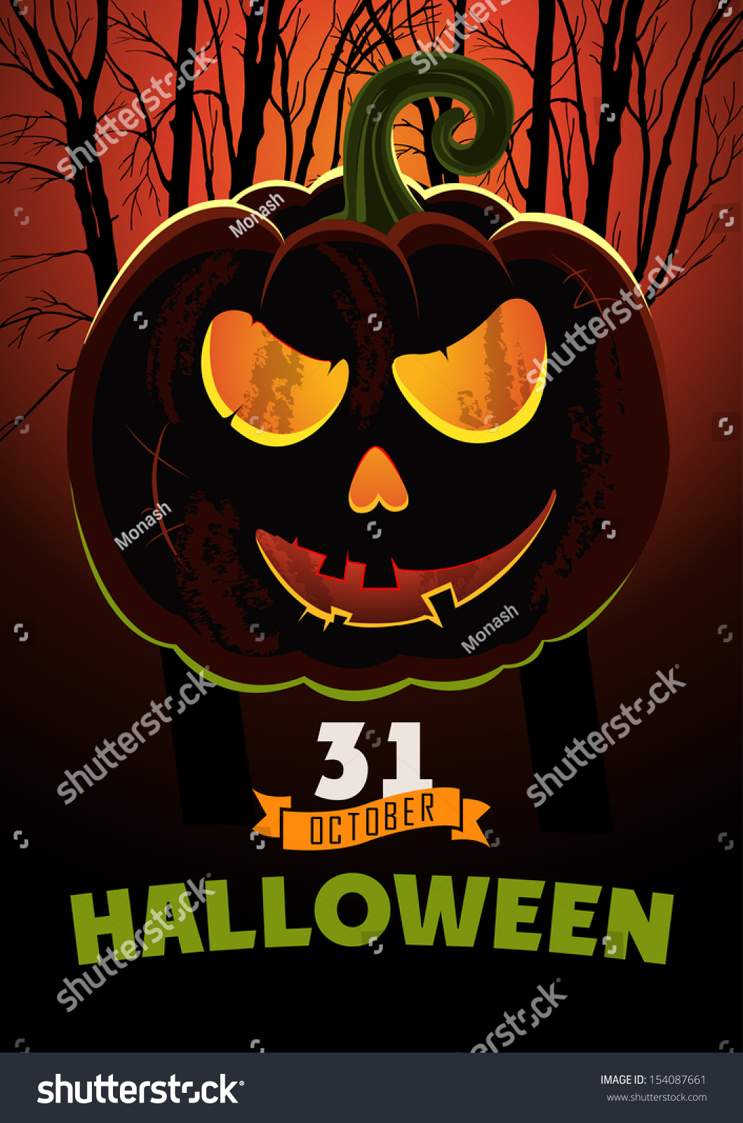 Halloween Party. Poster On Holiday With Pumpkin Design ...