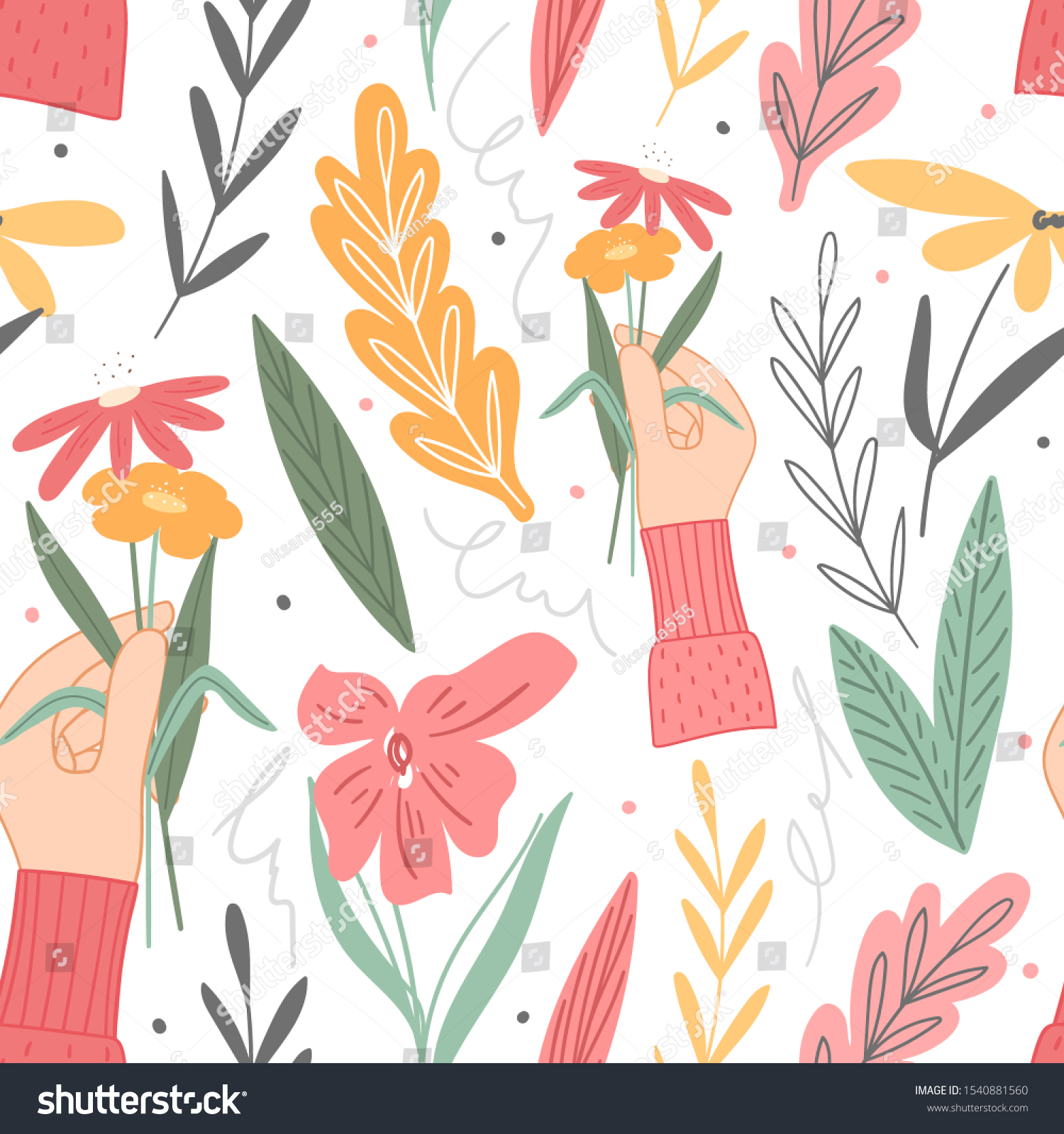 Hand Drawn Aesthetic Floral Seamless Pattern Royalty Free Stock