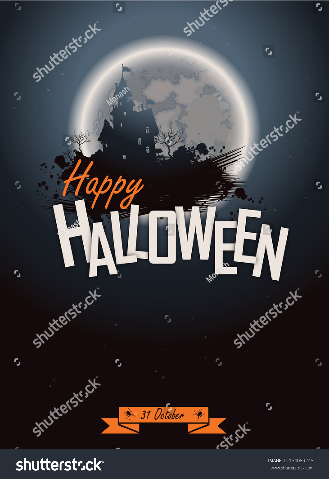 Halloween Party Poster Happy Holiday Background Stock Vector ...