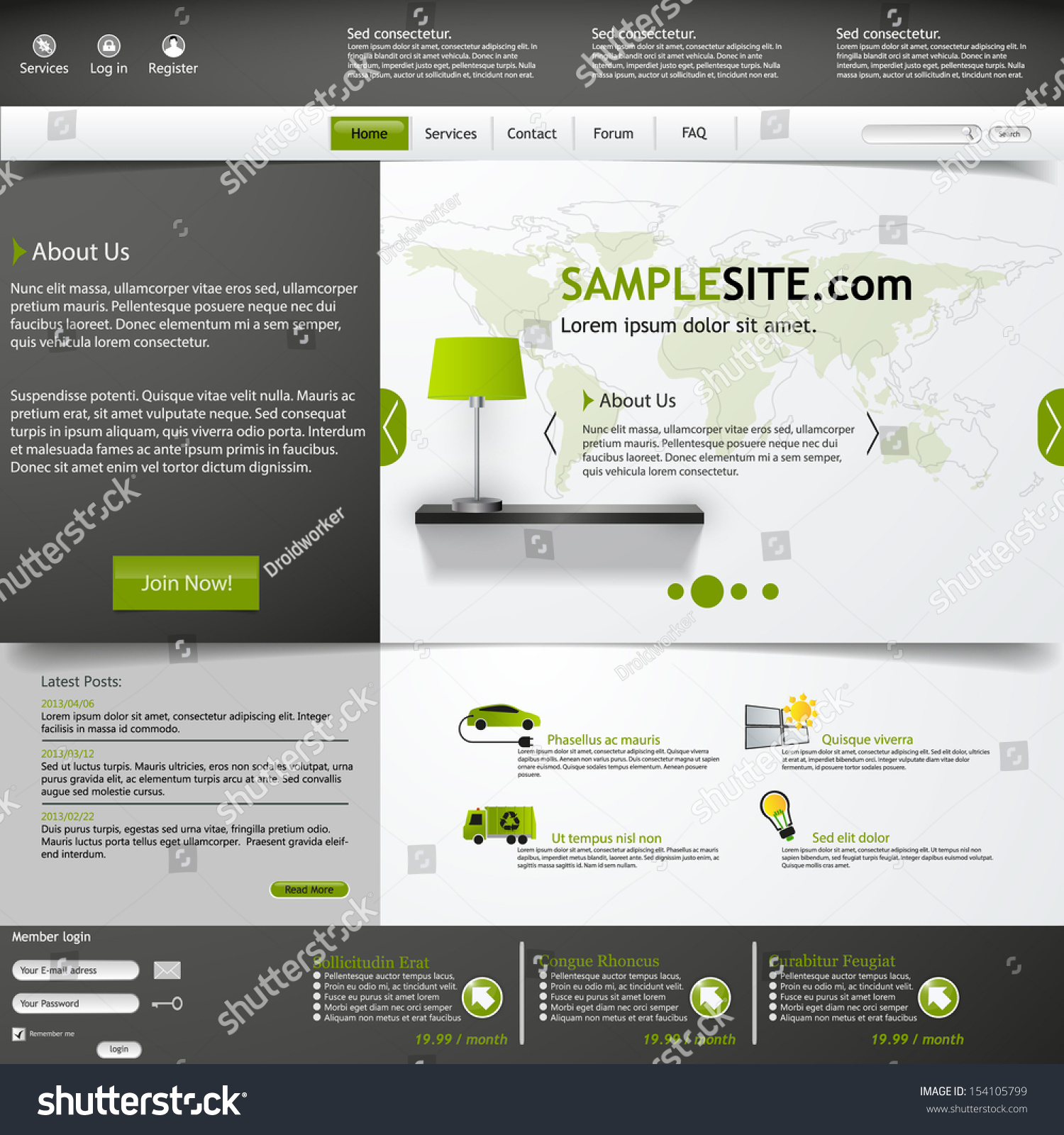 Website template green grey color stock vector 154105799 for Cool dreamweaver templates