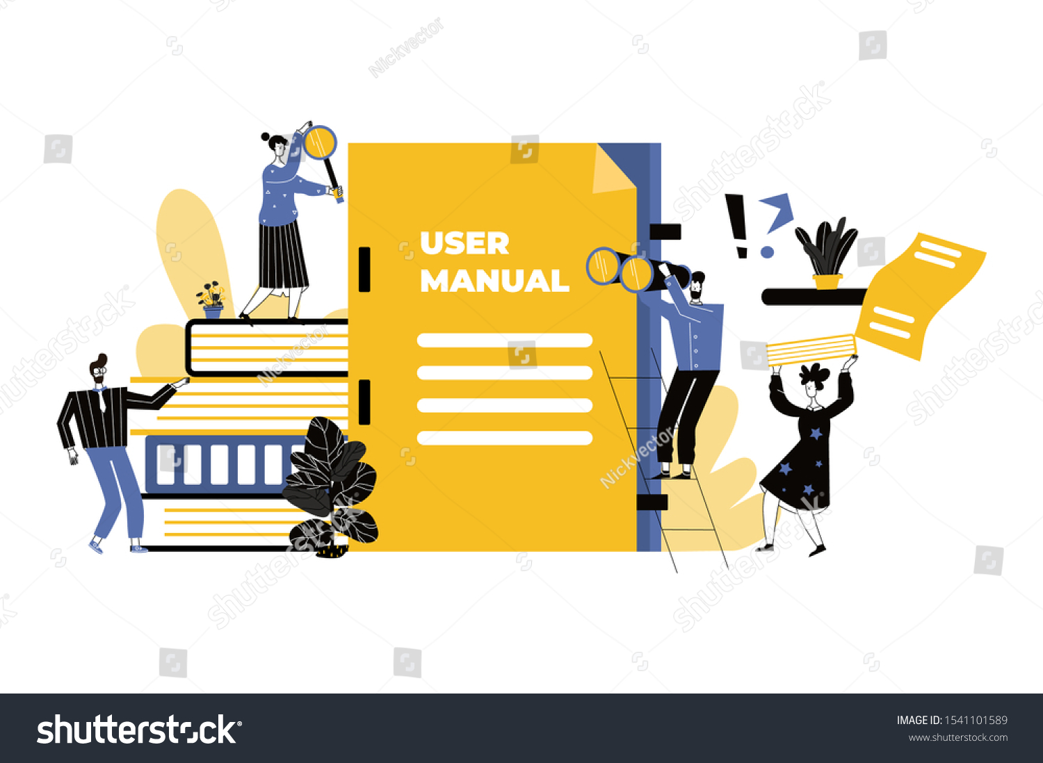 15+ User Manual Concept Small People Guide Stock Vector Royalty Free ... Fotografie