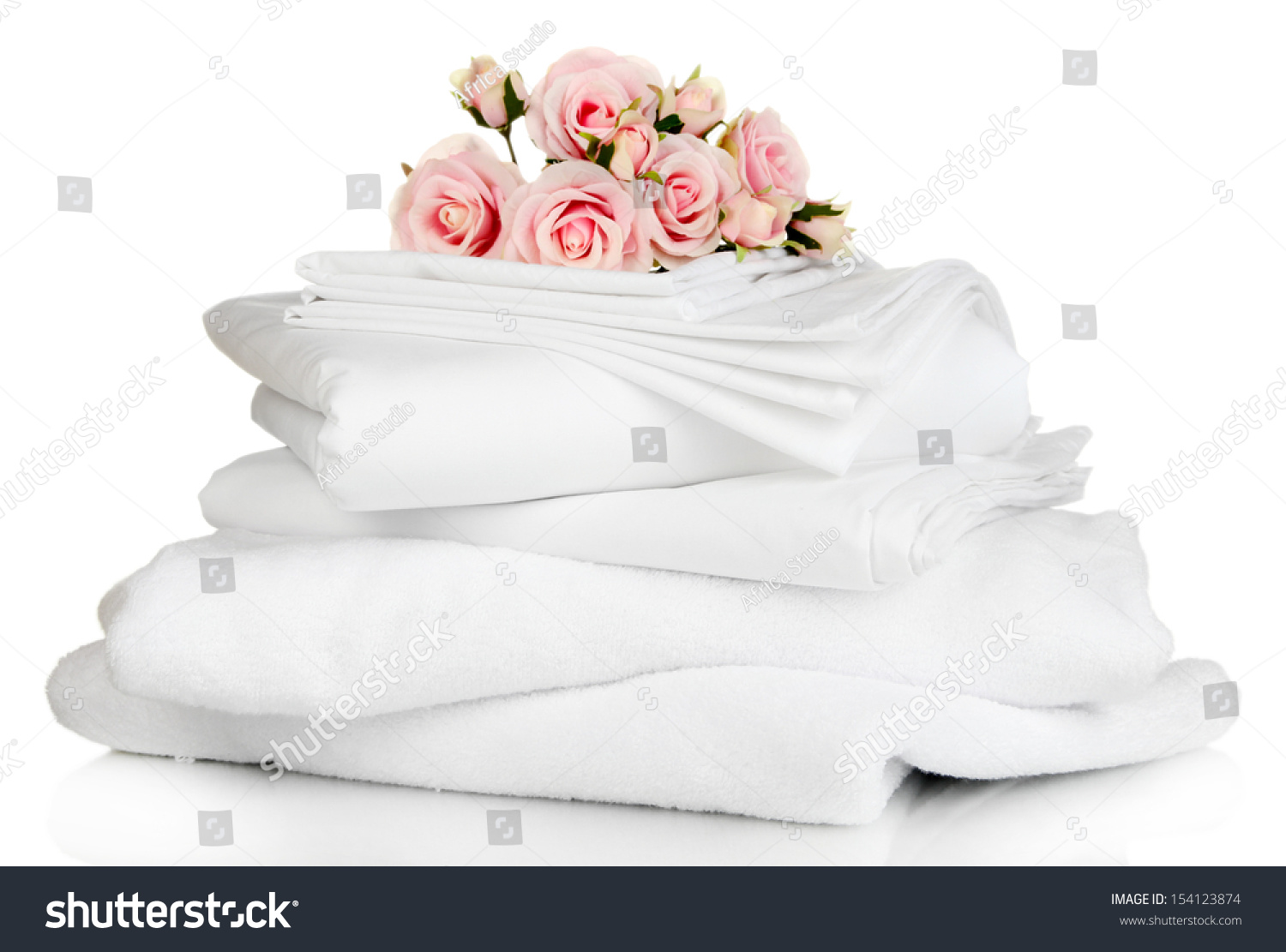 Stack clean bedding sheets towels isolated stock photo 154123874 shutterstock - Wash white sheets keep fresh ...
