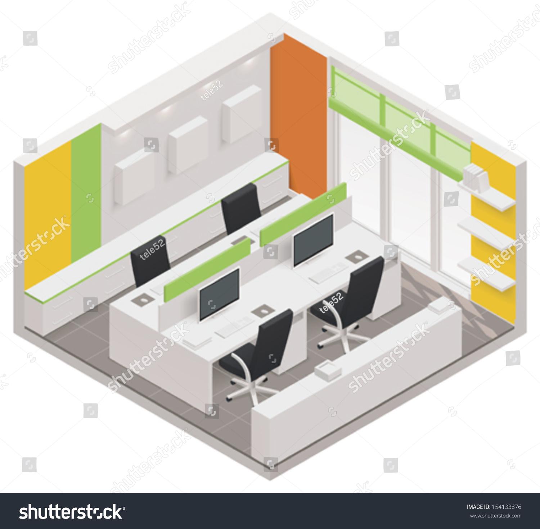 Vector Isometric Rooms Icon Stock Vector: Vector Isometric Office Room Icon Stock Vector 154133876