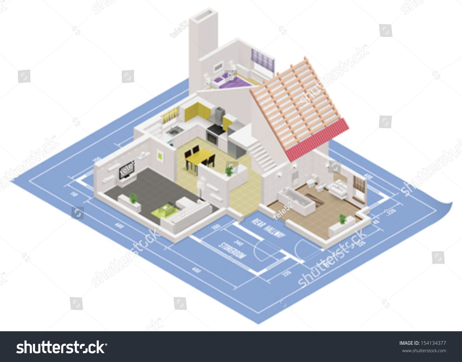 Vector isometric house cutaway icon building stock vector hd vector isometric house cutaway icon building cross section includes rooms and roof placed on ccuart Image collections