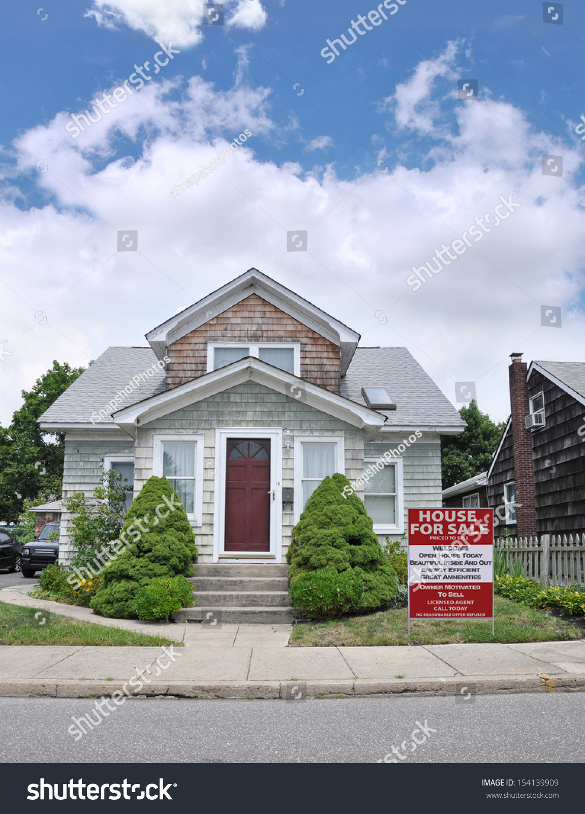 Real Estate for Sale Sign House For Sale Energy Efficient Great Amenities  in Residential Suburban Home