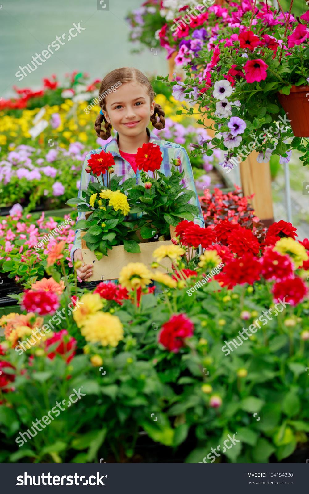 Royalty Free Flowers For Garden Lovely Girl 154154330 Stock