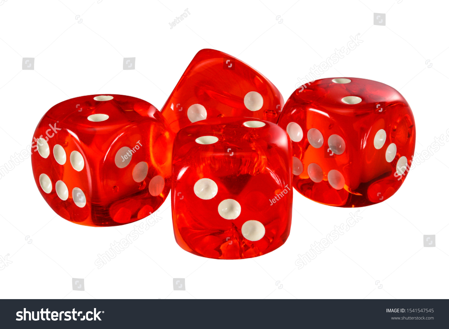 Red acrylic transparent dice for games. Four gambling translucent dices isolated on white background without shadow, macro close up high resolution. #1541547545