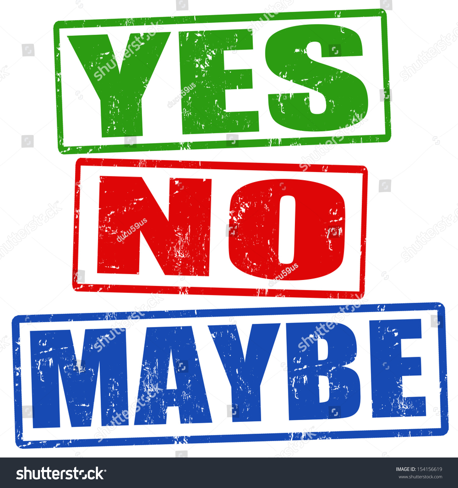 Yes No Maybe Grunge Rubber Stamps Stock Vector 154156619 ...