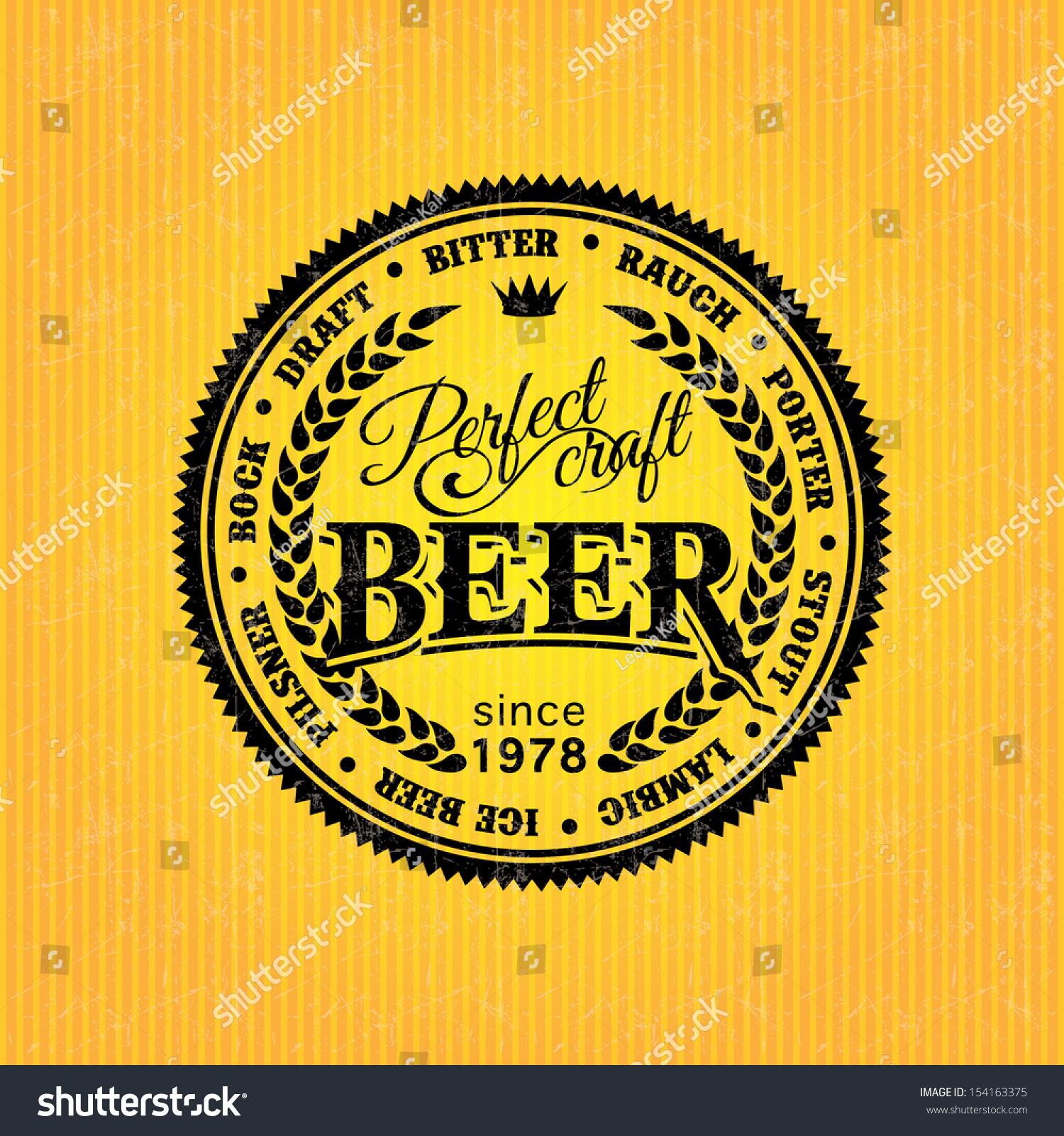 beer label design template stock vector 154163375 shutterstock. Black Bedroom Furniture Sets. Home Design Ideas