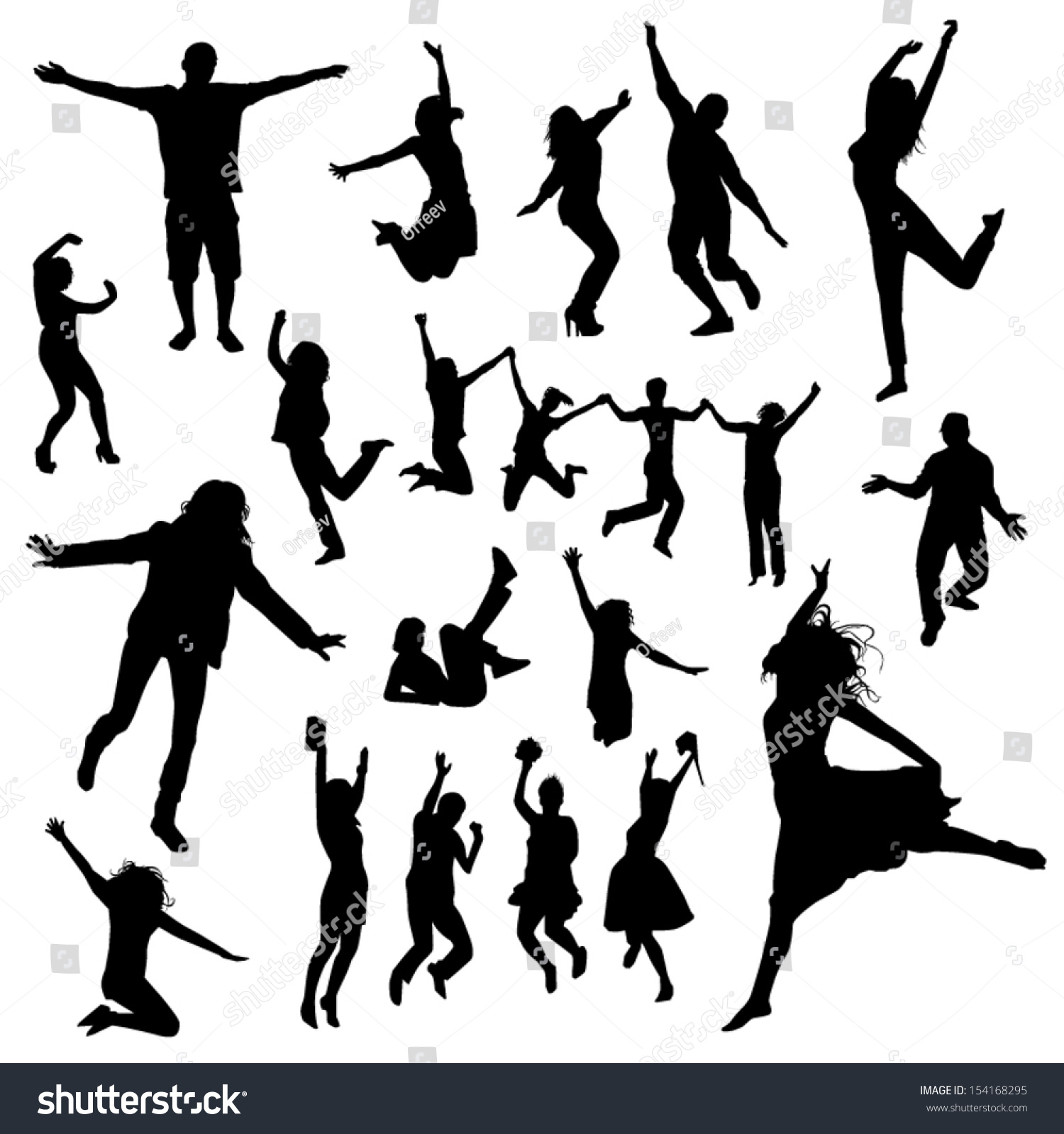 People jumping silhouette