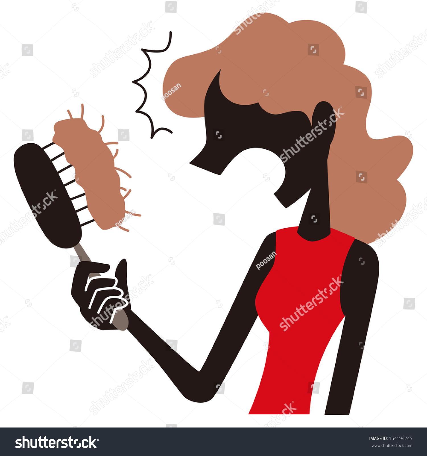 Woman Surprised Hair Loss Stock Vector 154194245
