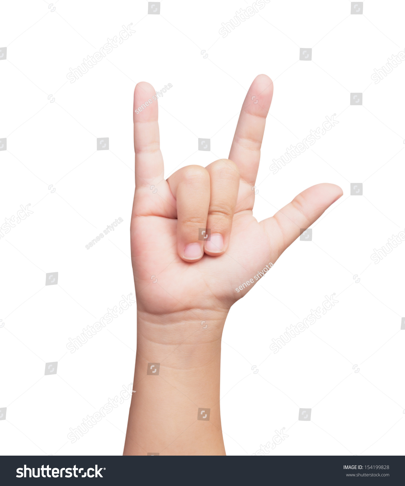 Hand Child Doing Sign Language Love Stock Photo Edit Now 154199828