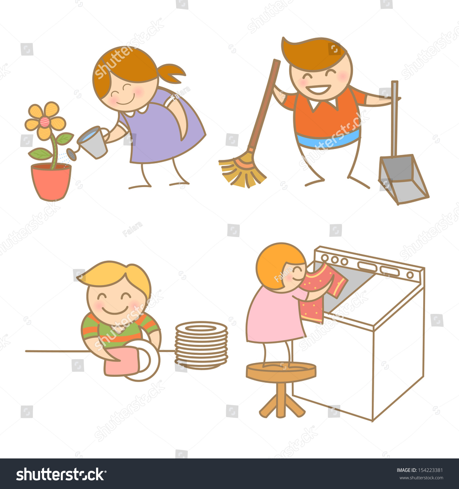 Kid housework set stock vector 154223381 shutterstock - Set table enfant ...
