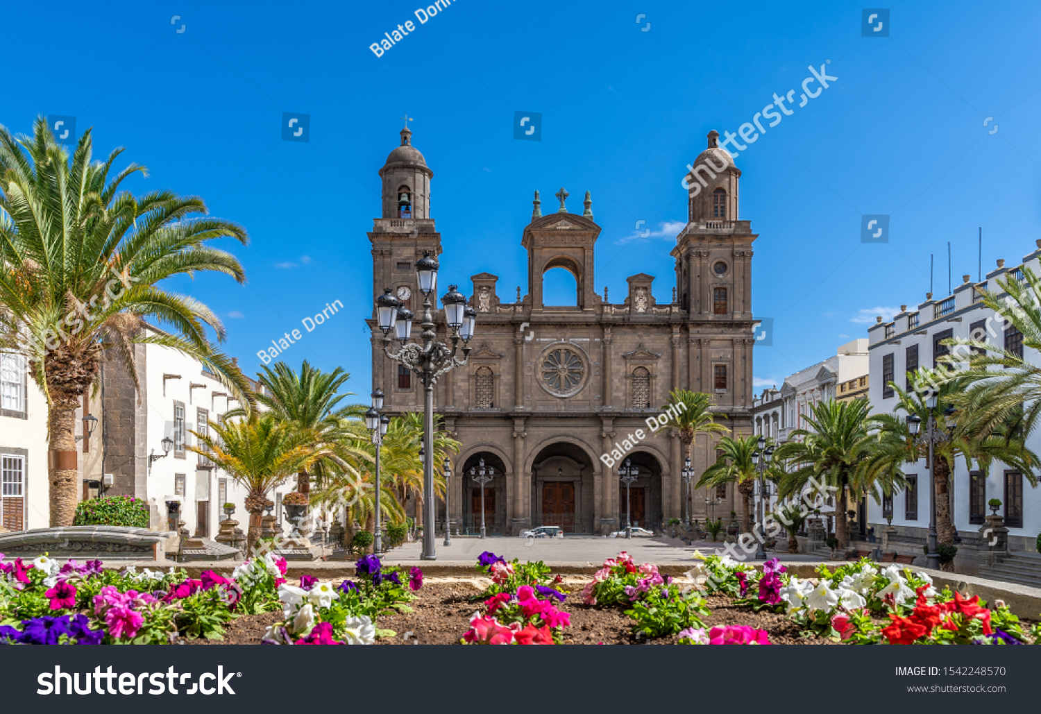 Landscape with Cathedral Santa Ana Vegueta in Las Palmas, Gran Canaria, Canary Islands, Spain #1542248570