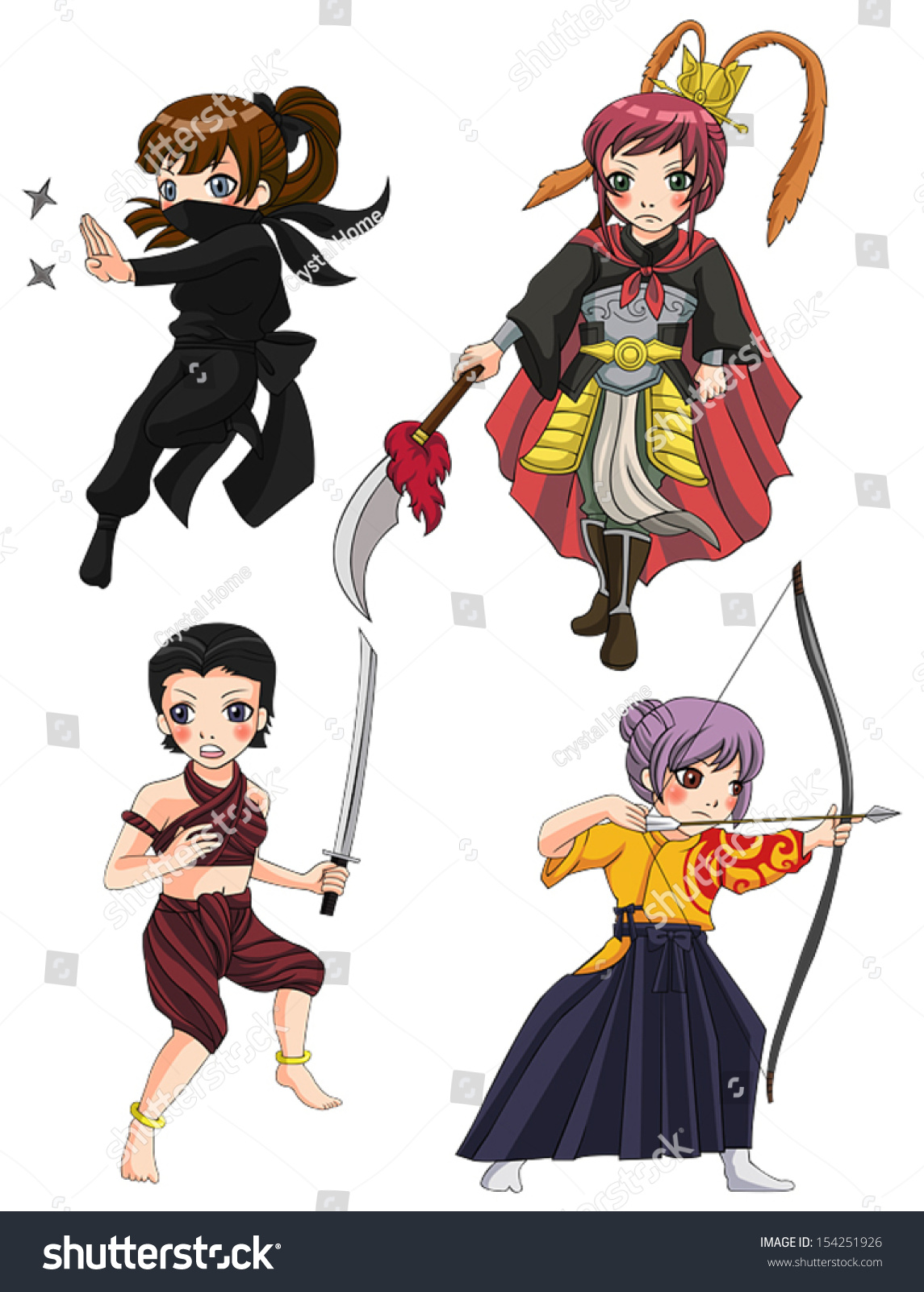 Ancient cartoon warriors fighters soldier military stock vector ancient cartoon warriors fighters soldier and military warlords girl from various culture such as ninja chinese biocorpaavc Choice Image