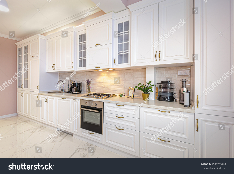 Simple Luxury Modern White Kitchen Interior Stock Photo Edit Now 1542765764