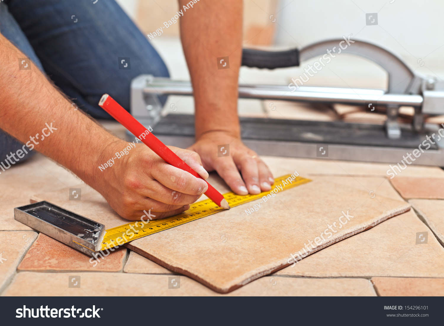 Laying Ceramic Floor Tiles Man Hands Stock Photo Edit Now