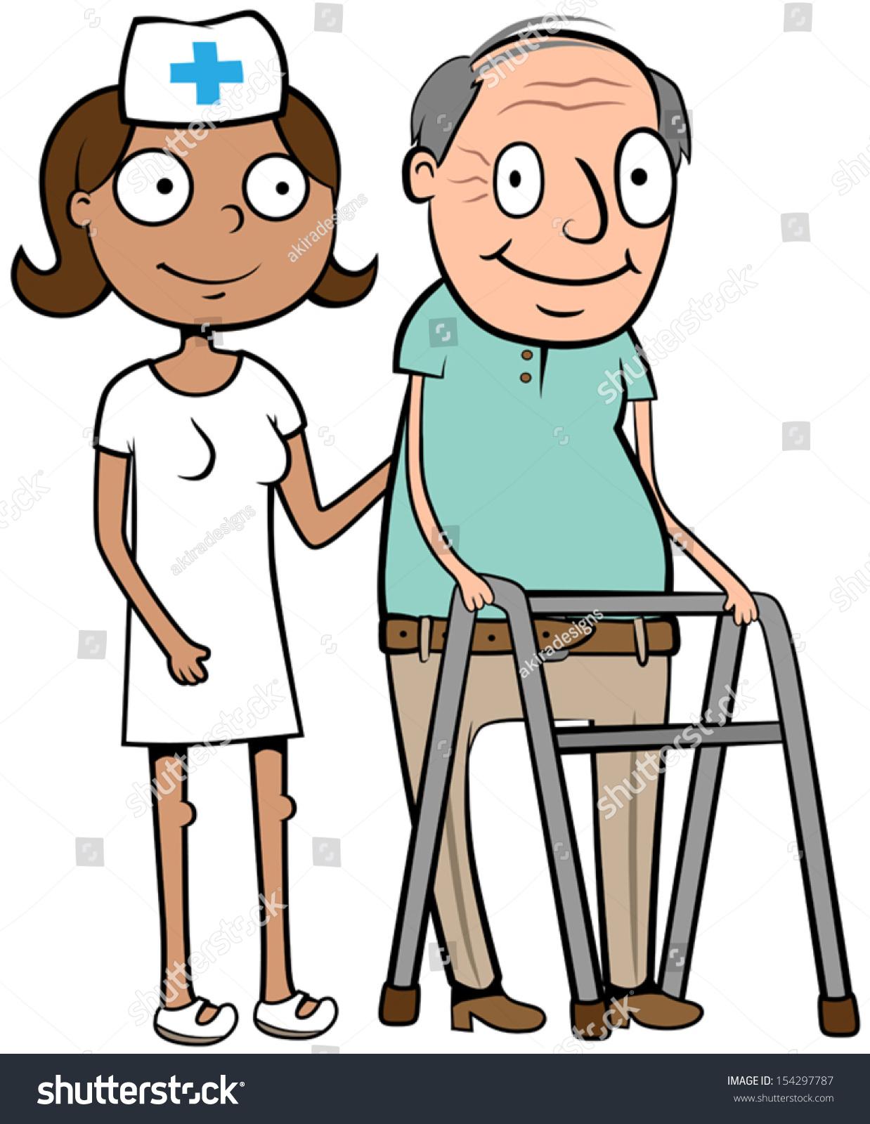 cartoon vector illustration nurse helping old stock vector Senior Care Clip Art Senior Citizen Clip Art