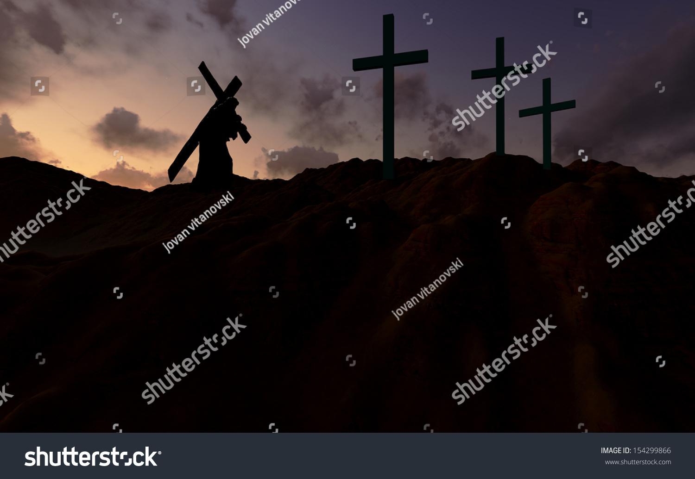 figure christ carrying cross calvary on stock illustration
