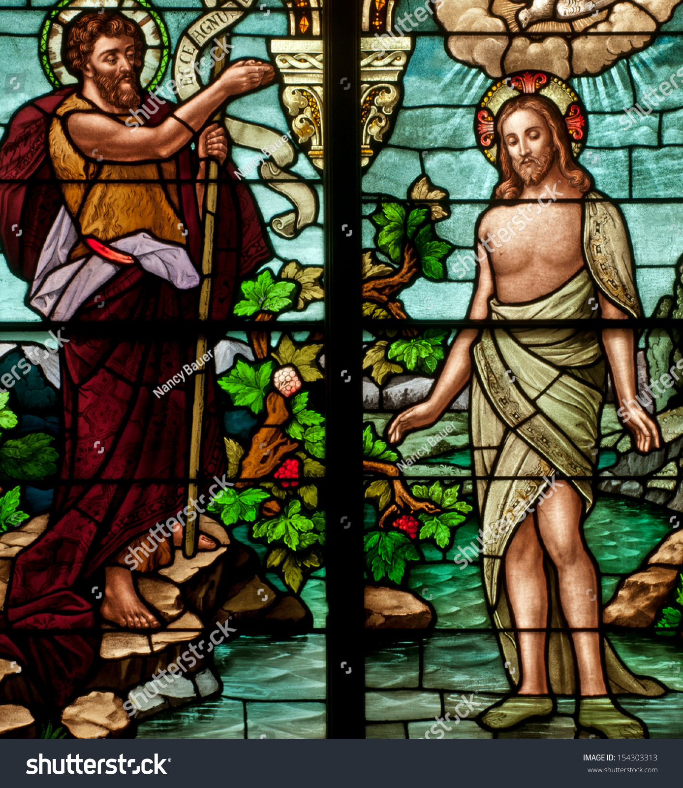 Stained Glass Window Depicting Bible Story Stock Photo 154303313 ...