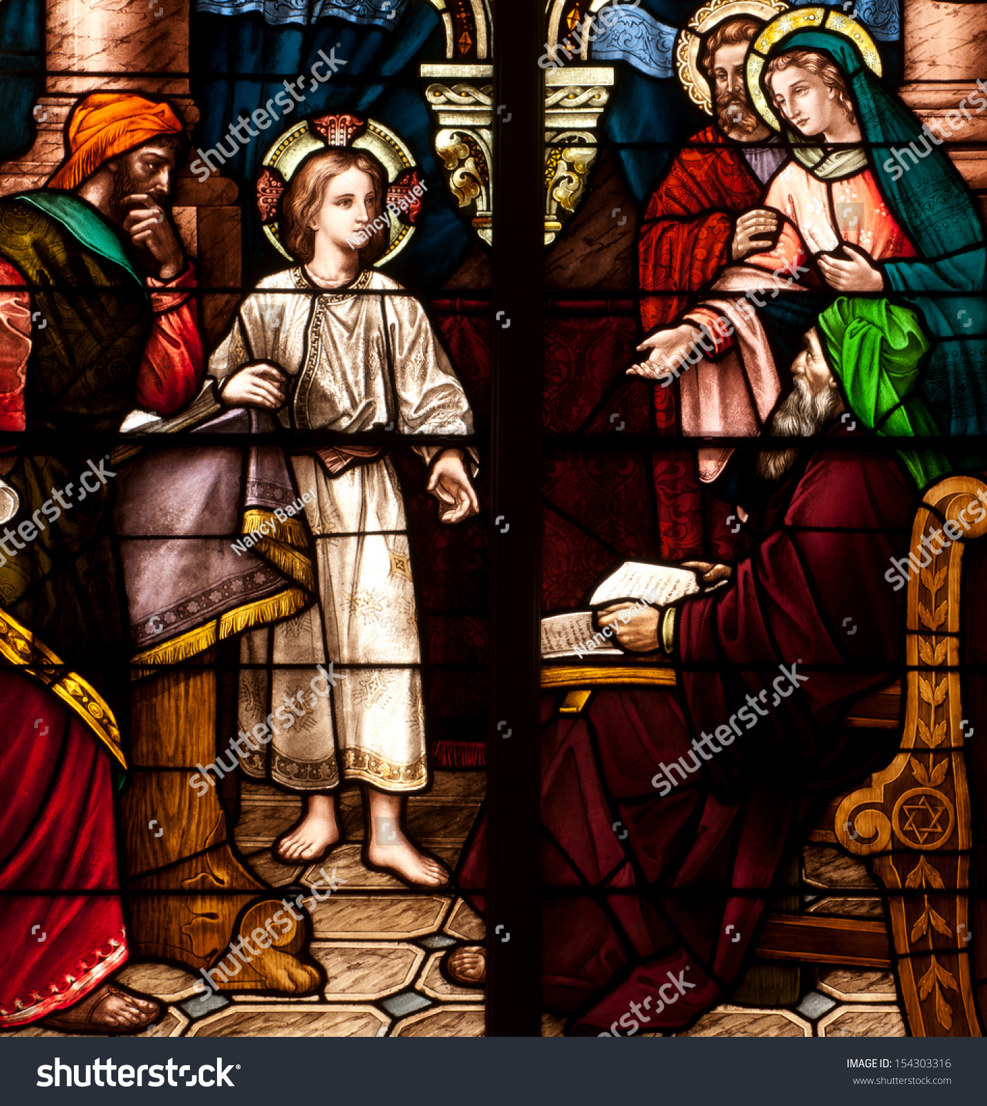stained glass window depicting bible story stock photo 154303316