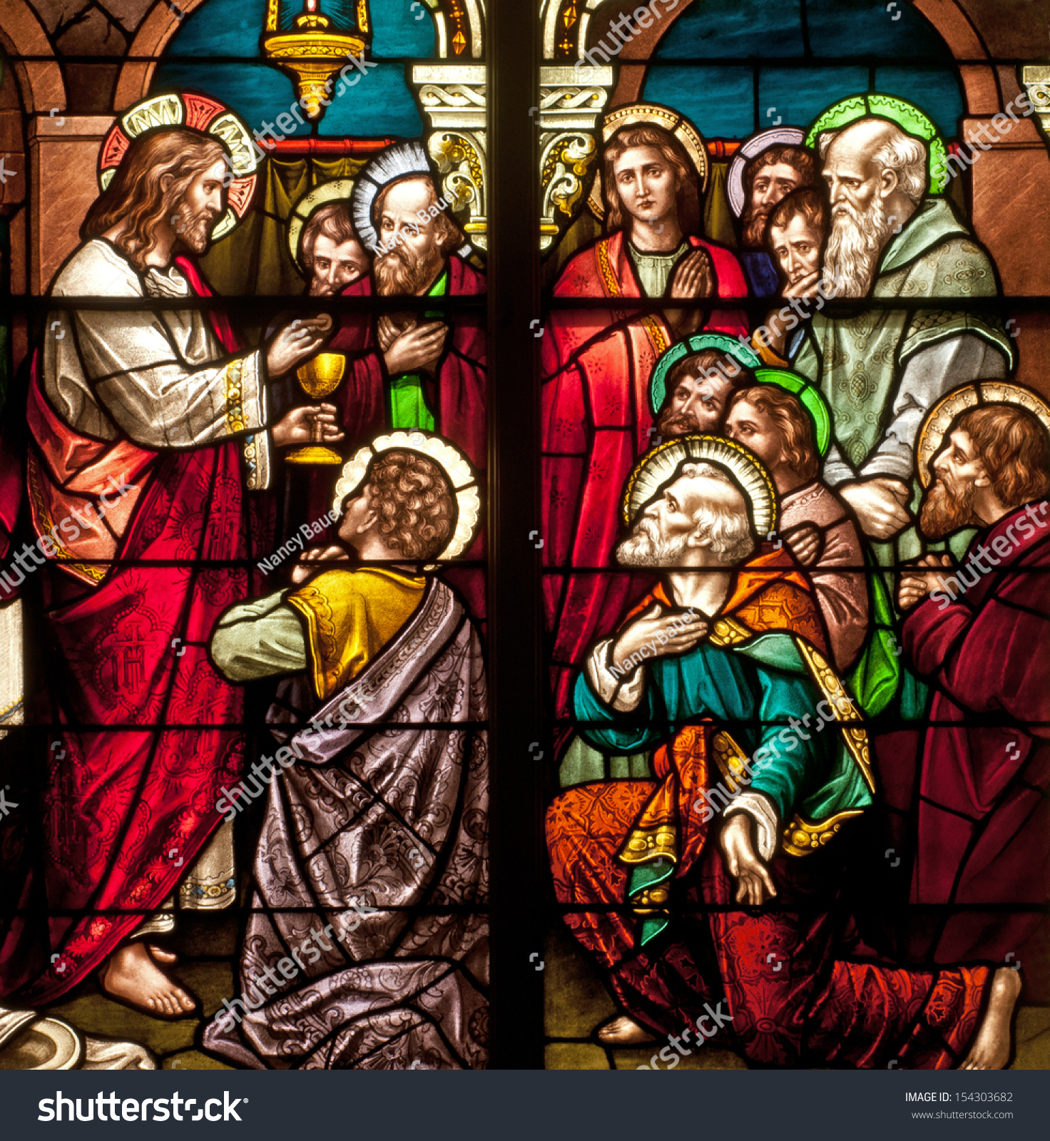 stained glass window depicting bible story stock photo 154303682