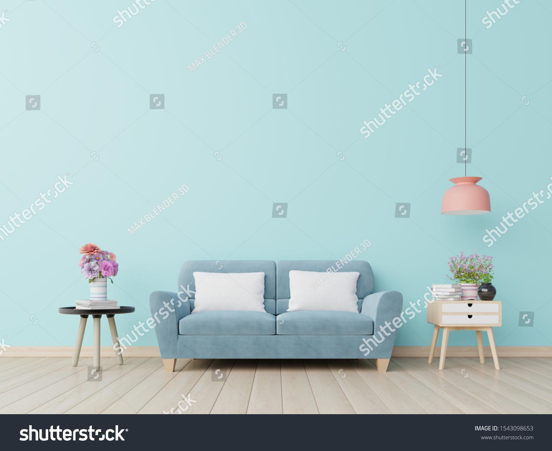 Blue Wall Living Room Blue Sofa3d Stock ...