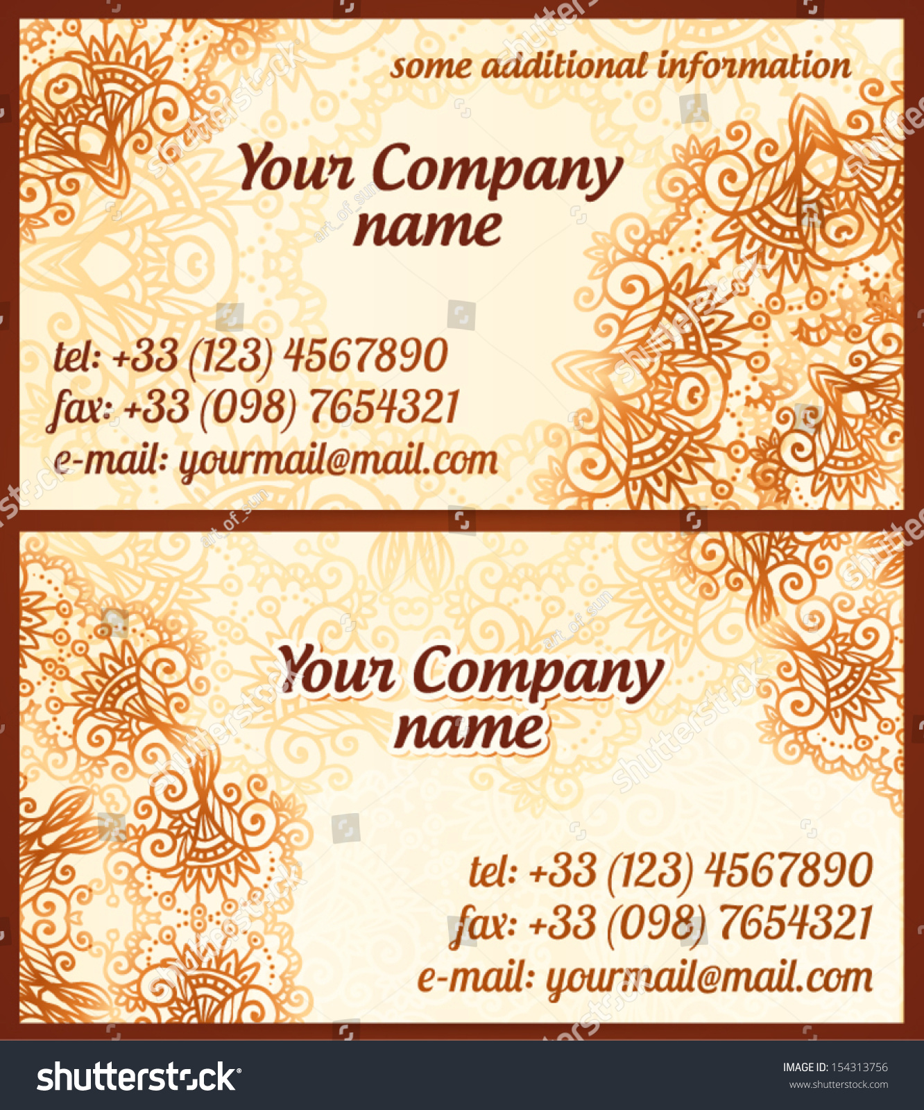 mehndi style vintage vector business cards stock vector