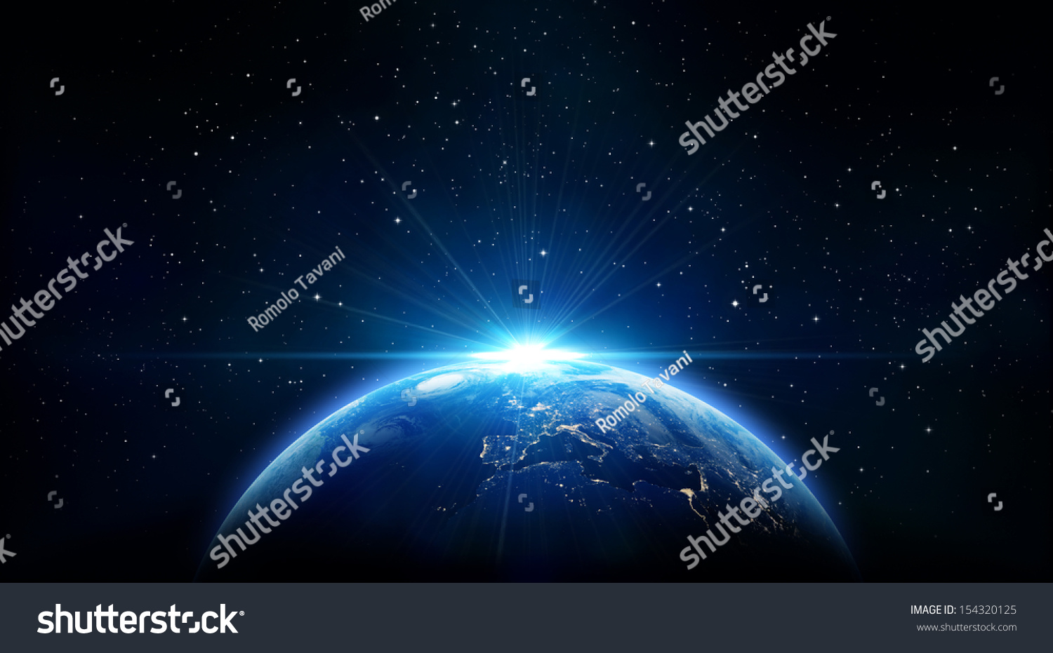 blue sunrise, view of earth from space #154320125