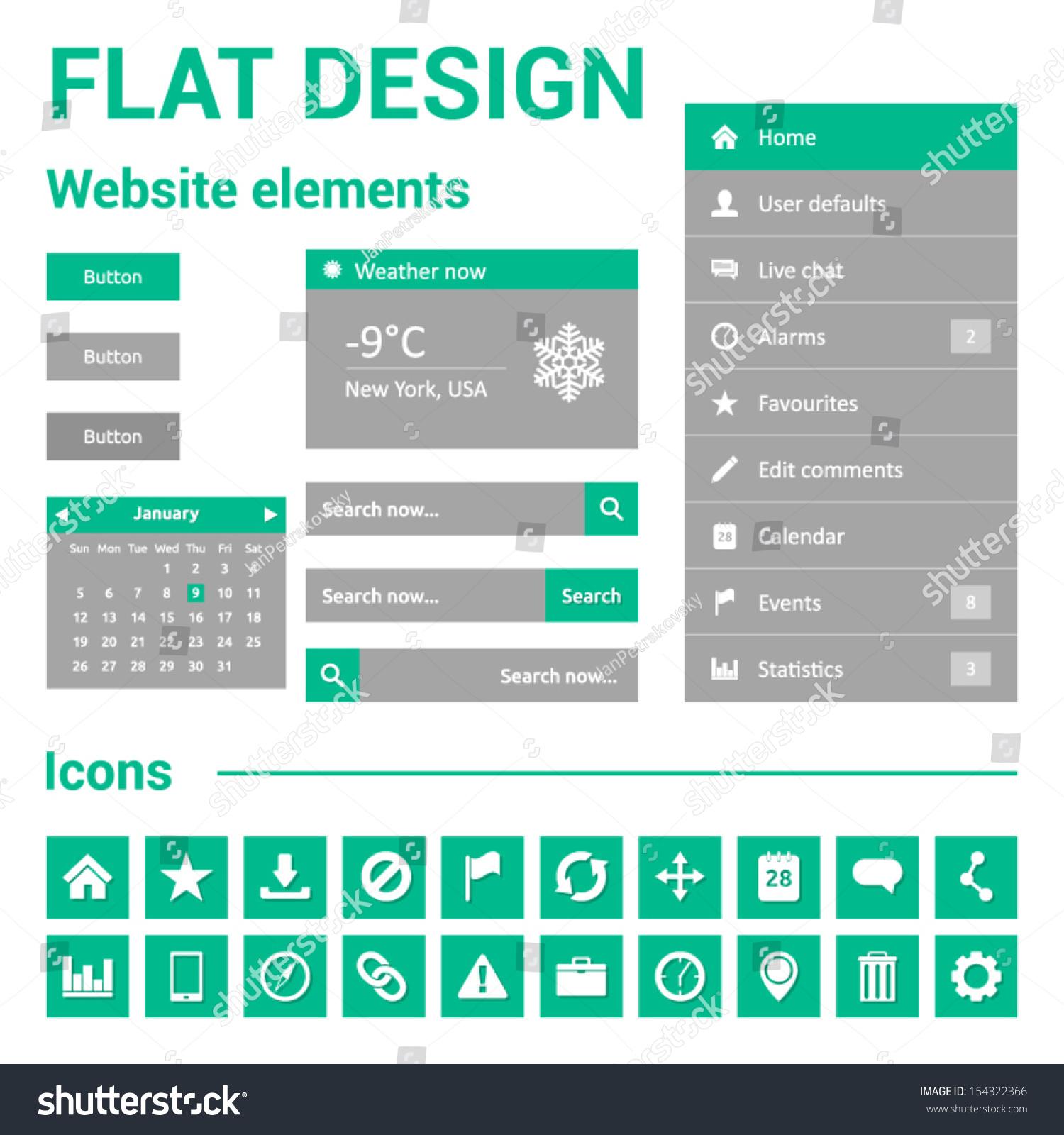 Calendar Website Design : Flat design for website web template set symbols