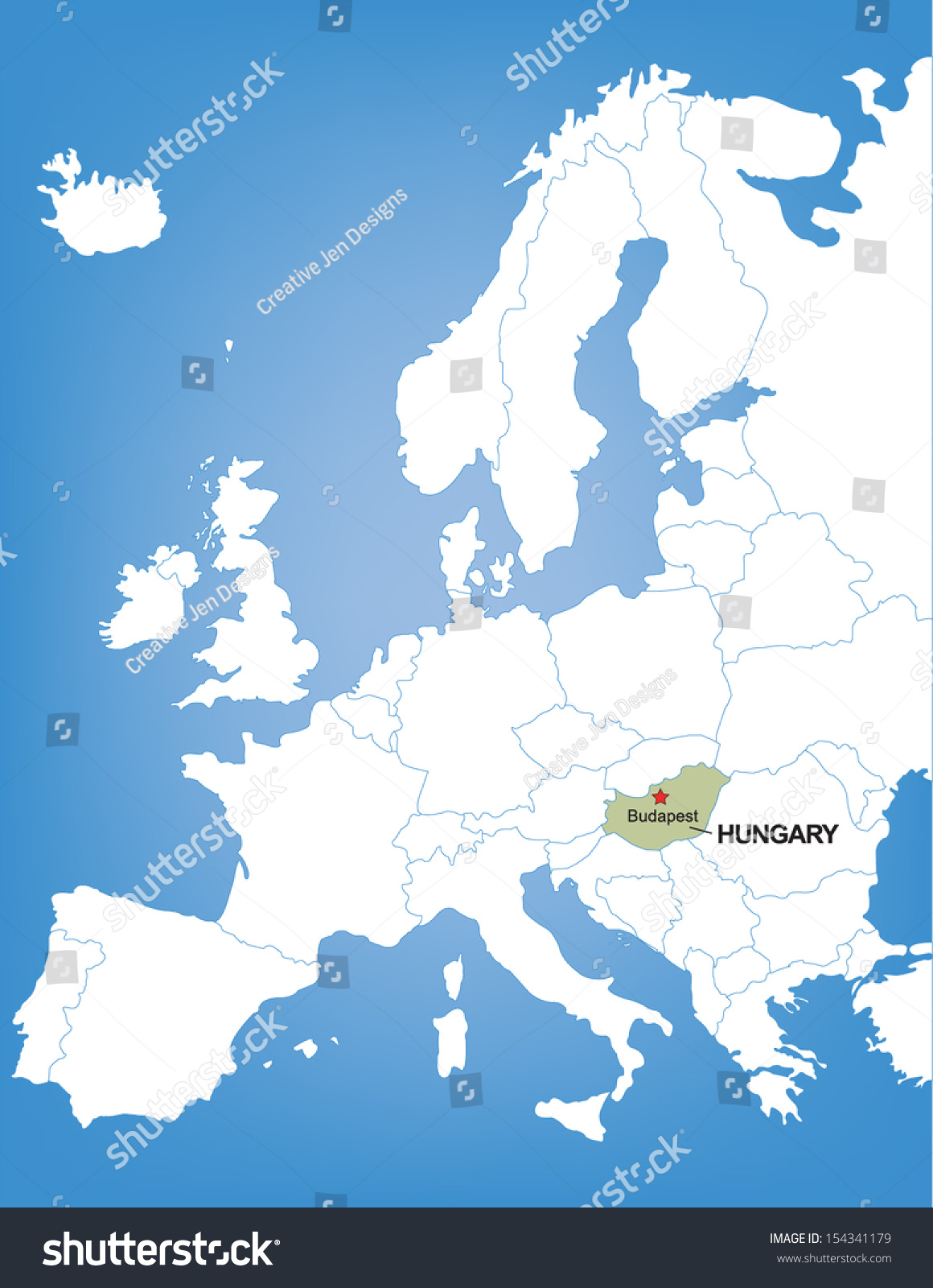 Vector Map Europe Highlighting Country Hungary Stock