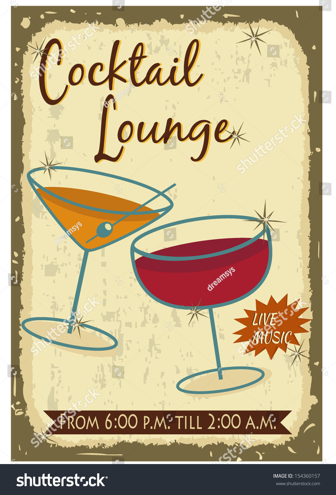 Vintage Cocktail Poster Stock Vector Illustration ...