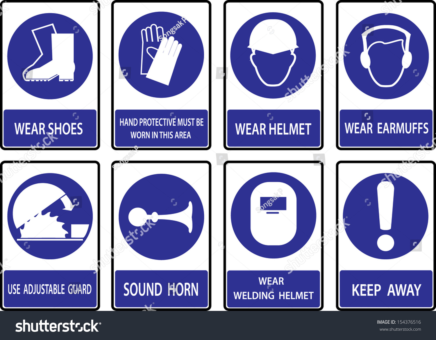 Mandatory Signs Construction Health Safety Sign Stock Vector