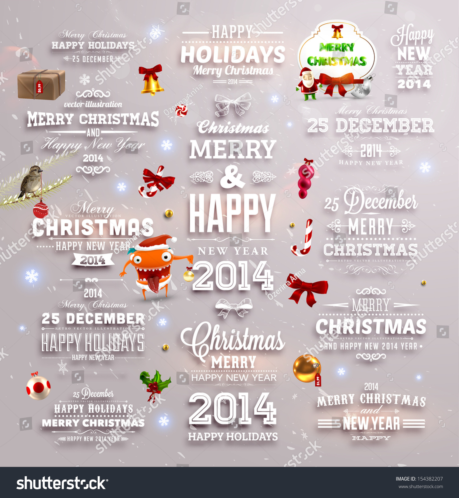 Christmas Decoration Collection Set Calligraphic Typographic Stock ...