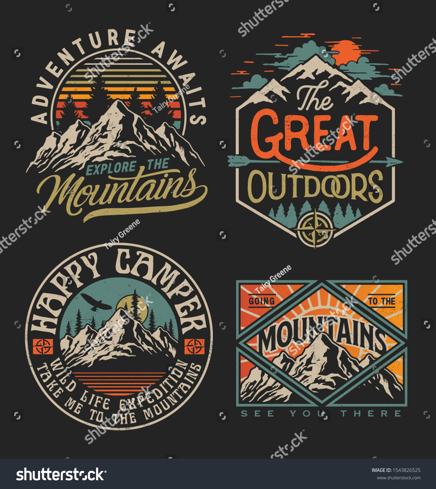 Collection of vintage explorer, wilderness, adventure, camping emblem graphics