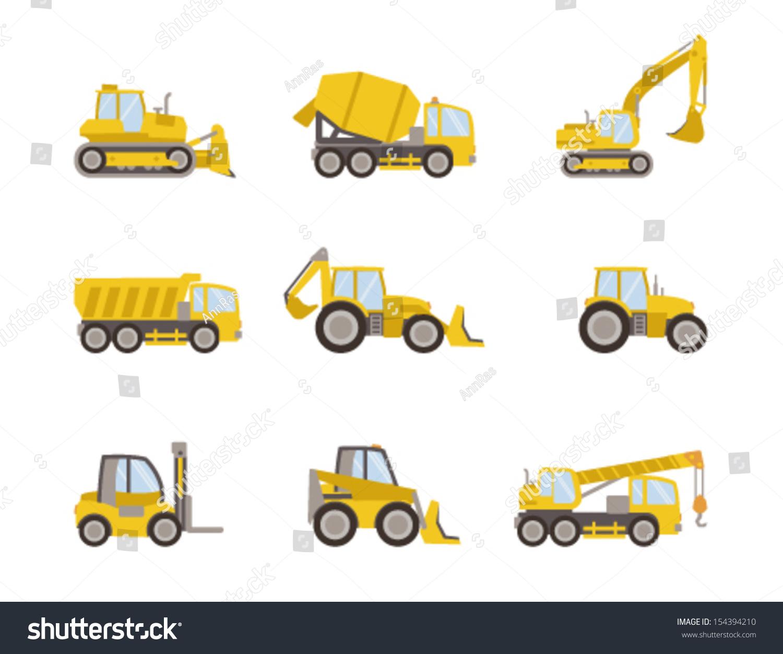 Set Heavy Equipment Icons Stock Vector 154394210