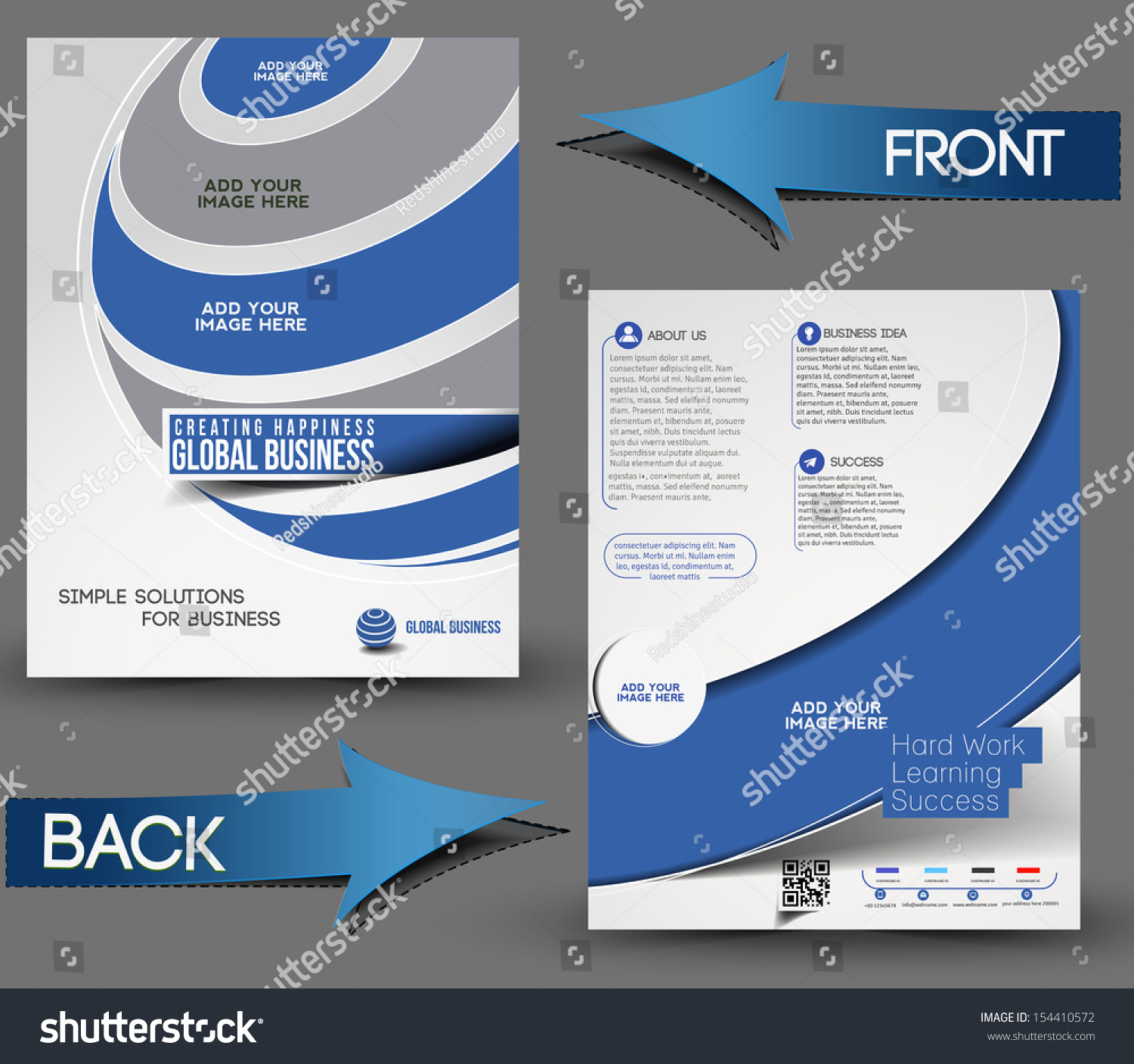 global business front back flyer template stock vector  global business front back flyer template